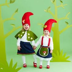 Creative Halloween Costumes to Make for Kids: DIY Sweet Gnomes Diy Halloween Costumes For Kids, Diy Costumes, Fall Halloween, Halloween Crafts, Costume Ideas, Homemade Costumes, Halloween Clothes, Homemade Halloween, Carnival Costumes