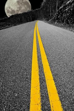 ~~Highway to the moon | sometimes at night the only color is in the yellow stripes on the road and I imagine driving up to the moon | by David Vandre~~
