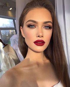 Glam Makeup Look, Red Lip Makeup, Prom Makeup, Gorgeous Makeup, Pretty Makeup, Skin Makeup, Bridal Makeup, Wedding Makeup, Red Makeup Looks