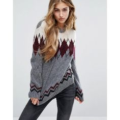 Pull&Bear Fairisle Printed Jumper ($48) ❤ liked on Polyvore featuring tops, sweaters, multi, fair isle jumper, fair isle sweaters, print top, patterned tops and fairisle sweater