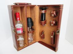 Vintage Portable Travel Bar Wine Tools and Cocktail Shaker Suitcase Barware Brown Faux Leather