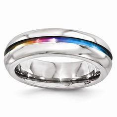 Titanium Rings For Men, Ring Shapes, Types Of Rings, Wedding Men, Wedding Ideas, Wedding Ring Bands, Band Rings, Jewelry, Rainbow