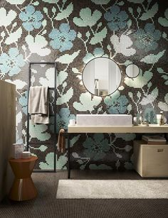 - Floral patterns in the foreground for Mosaico+: they make the transition from the world of fashion to the latest interior design tre Mosaic Bathroom, Bathroom Spa, Modern Bathroom, Washroom, Mosaic Tile Designs, Mosaic Tiles, Mosaic Art, Interior Styling, Interior Decorating