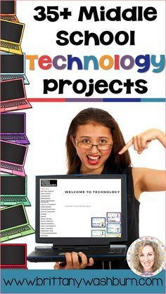 Middle School Technology Projects for intermediate to advanced skill level. These projects and activities will save you so much time coming up with what to do during your computer lab time. Ideal for a technology teacher or media specialist. - Go pin L Computer Literacy, Computer Teacher, Teaching Computers, School Computers, Computer Class, Computer Science, Teaching Computer Skills, Computer Center, Teaching Tools