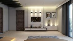 Browse images of modern Living room designs: Interior. Find the best photos for ideas & inspiration to create your perfect home. Lcd Unit Design, Lcd Panel Design, Tv Cabinet Design, Tv Wall Design, Living Room Modern, My Living Room, Tv Unit For Living Room, Tv Wanddekor, Lcd Units