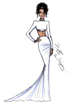 Beauty in white: Sketch of Rhianna in Stella McCartney from last Monday's met Ball, by Hayden Williams