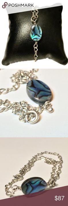 Sterling silver chain blue stone bracelet Blue stone sterling silver bracelet Jewelry Bracelets