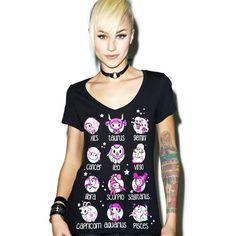 Tokidoki Toki Horoscope Tee ($15) ❤ liked on Polyvore featuring tops, t-shirts, v neck tee, print tee, tokidoki, short sleeve t shirt and print t shirts