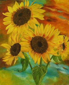 Sonnenblumen Original Ölmalerei von Blumenmalerei und mehr auf DaWanda.com