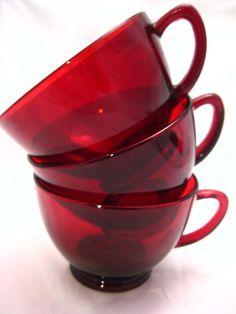 Vintage Ruby Red Tea Cups - Set of 8