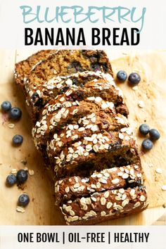 This healthy blueberry banana bread is made without butter or oil, but so soft and tender that you'd never be able to tell! Greek yogurt and bananas keep it moist, while fresh blueberries add extra sweetness and flavour.