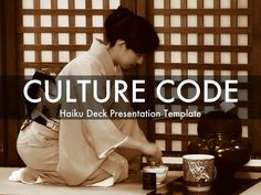 "Haiku Deck presentation template for a ""Culture Code"" presentation to capture company values, vision, and guiding principles. Ideas:  Add to your company LinkedIn page, share with employees, embed in blog or website."
