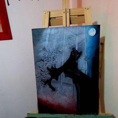 NA NA NA NA, Batman! ⛰  Pedido para el genio de Pablo Grossi ! Gracias por confiar en mi, fue un gustazo!   Técnica mixta de -Acrílico & Óleo- sobre madera //50x70//  Cuadros a pedido 📥💌 vía inbox!   Regala arte❤️ •PARTE DEL AIRE•