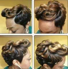 Short cut (grown out from pixie) w/few large flip curls in front, tapered sides.