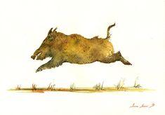 PRINT-Wild boar hog painting watercolor by SanMartinArtsCrafts