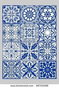 Majolica pottery tiles mega set, blue and white azulejos, original Portuguese and Spain decor