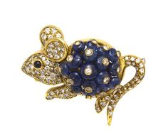 An 18 Karat Yellow Gold, Sapphire and Diamond Mouse Brooch,  body consisting of 17 pierced sapphire beads each collet set with a round  brilliant cut diamond, head, tail and feet contain numerous round brilliant cut diamonds weighing approximately 1.85 carat total, round cabochon cut sapphire eye.