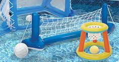 It's time to get your backyard game on with this basketball, volleyball AND water polo set! #BYOpooltoys #endofsummer