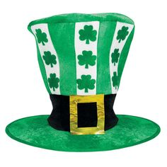 Go big, or go bigger in our oversized green and white striped St. Patrick's Day Leprechaun Top Hat. You'll be larger than life this St. Patrick's Day when you don our Oversized St. Patrick's Day hat. This hilariously huge hat features green and white stripes, printed green shamrocks, and a faux black buckle hatband. Give the gift of goofy when you surprise a friend with this fun novelty party hat.
