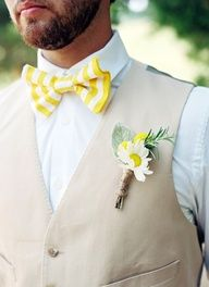 yellow bow tie wedding | yellow striped bow tie + sunny boutonniere