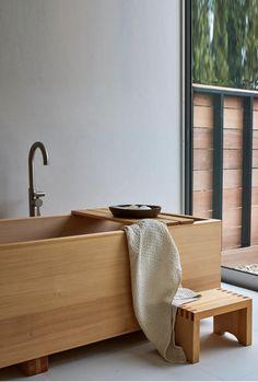 Spa Day At Home, Home Spa, Wabi Sabi, Japanese Soaking Tubs, Japanese Bathtub, Hinoki Wood, Tatami, Tub Shower Combo, Leather Lounge