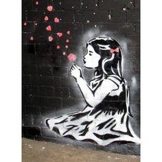 Image detail for -Banksy - GIRL BLOWS HEARTS - framed canvas art print 25cm x 34cm ...