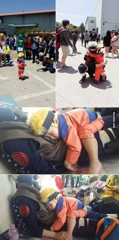 Kakashi and Naruto from Naruto. I don't like Naruto so much buuuuut, this is sooo kawaii Cosplay Anime, Naruto Cosplay, Epic Cosplay, Cute Cosplay, Amazing Cosplay, Cosplay Outfits, Halloween Cosplay, Cosplay Costumes, Naruto Halloween Costumes