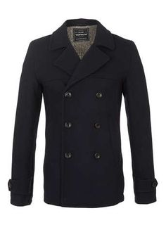 NAVY WOOL SKINNY PEA COAT