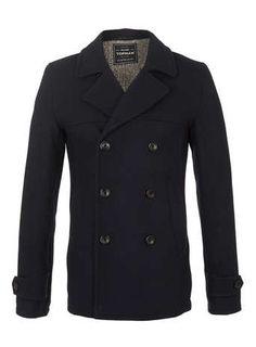 NAVY WOOL SKINNY PEA COAT - Men's Coats & Jackets  - Clothing