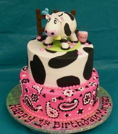 Pretty Picture of Cow Birthday Cake . Cow Birthday Cake Cow Cake All First Year Birthday Cakes Come With A Complimentary 4 One Year Birthday Cake, Pink Birthday Cakes, 2nd Birthday, Birthday Ideas, Cowgirl Birthday, Cowgirl Party, Kylie Birthday, Cow Cakes, Cupcake Cakes