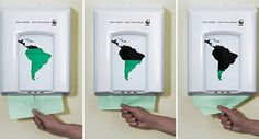 Nancy Oy- This image is an example of Shock Advertising. It was used in a campaign for Green advertising. The image is showing how the more paper it is used, in this case paper towels, the less green (that it environmentally friendly) the world becomes.