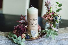 Kerzen - Hochzeitskerze Vintage, Namen - ein Designerstück von FEIERfein bei…