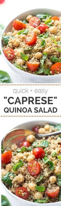 Ensalada Caprese quinoa con los tomates, albahaca y garbanzos | receta en simplyquinoa.com