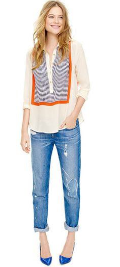 J. Crew (it's called the silk crepe print popover blouse), available for pre-order at 800-261-7422