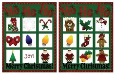 Free, Printable Christmas Bingo Cards for a Family Fun Night: Four Free Christmas Bingo Games at Prepared Not Scared
