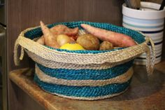 A divine striped eco-friendly basket which is ideal to use as a fruit/ vegetable basket, a sewing basket, a small toy basket, or for wherever you want to keep smaller items neatly organized. The perfect home decor item for contemporary living.  Jute a natural fibre, obtained from the bark of the jute plant has remarkable strength and durability. It is fully biodegradable. A hectare of jute plants consumes about 15 tonnes of carbon dioxide and releases 11 tonnes of oxygen.  #Fair #Trade