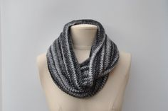 Long crocheted cowl in black/grey/silver by DaisyElizaDesigns on Etsy