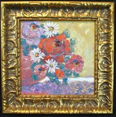 12x12 Abstract Floral Framed in Chunky Larson Juhl Frame