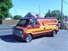 custom van Dodge Van, Old School Vans, Vanz, Cool Vans, Vans Style, Vintage Vans, Custom Vans, Kustom, Pickup Trucks