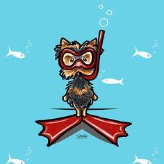 Snorkel Yorkie Funny Artwork Card by Off-Leash Art™
