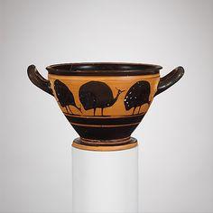 Terracotta skyphos (deep drinking cup)  Period: Archaic Date: ca. 500 B.C. Culture: Greek, Attic Medium: Terracotta