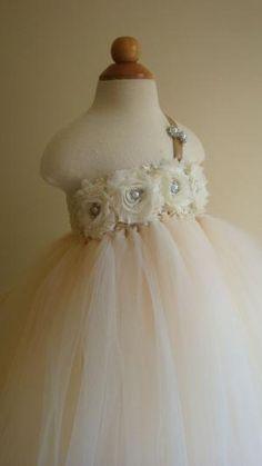 Flower girl dress Ivory Champagne tutu by Theprincessandthebou, $80.00 by kathie