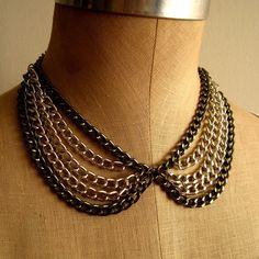 diy metal chain peter pan collar necklace