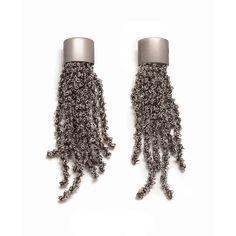 Pesavento DNA Ruthenium Sterling Silver Mesh Earrings