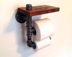 Double Toilet Paper Holder // Reclaimed Wood Pipe by Reclaimed PA. Perfect for bars and restaurants! Pipe Furniture, Furniture Design, Furniture Vintage, Modern Furniture, Rustic Toilet Paper Holders, Rustic Toilets, Toilet Paper Storage, Rustic Industrial, Industrial Lamps
