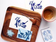 Love Birds  Handcarved & Handprinted Postcard by PaprikaPaperGoods