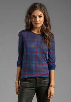 Marc By Marc Jacobs Sheer Plaid Jersey Long Sleeve in Blue in Red (Blue) - Lyst