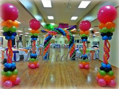 Main entrance #balloons #arch #decoration #candyland #colors #fuchsia