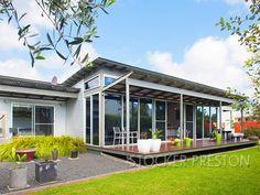 skillion roof + louvre windows @ top