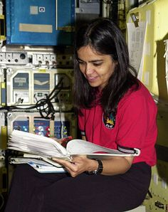 Kalpana Chawla in the space shuttle simulator
